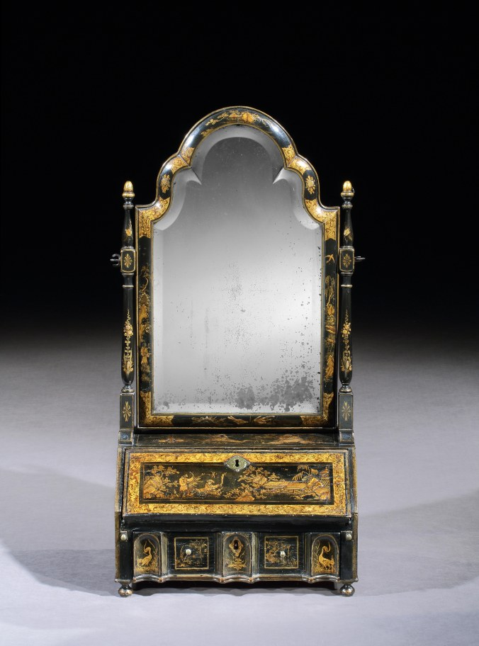 A Queen Anne Black and Gilt Japanned Dressing Mirror Mackinnon Fine Furniture Collection