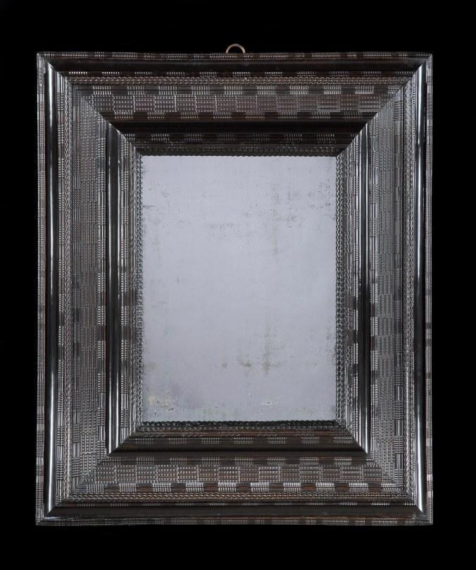 A Large 17th Century Dutch Ebonised Cushion Mirror made of Pearwood Mackinnon Fine Furniture Collection