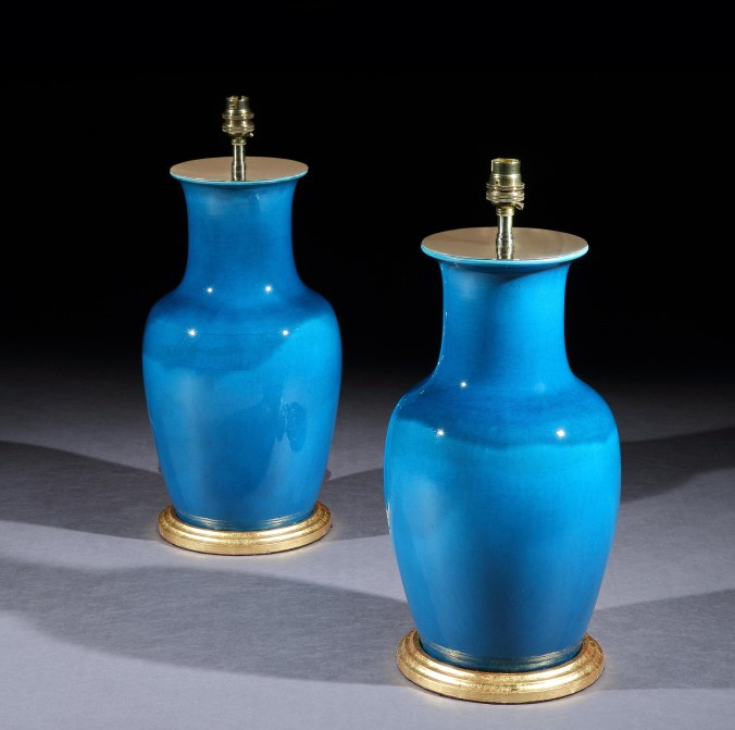 A Pair of French Baluster Turqouise Glazed Vases by Theodore Deck Mackinnon Fine Furniture Collection