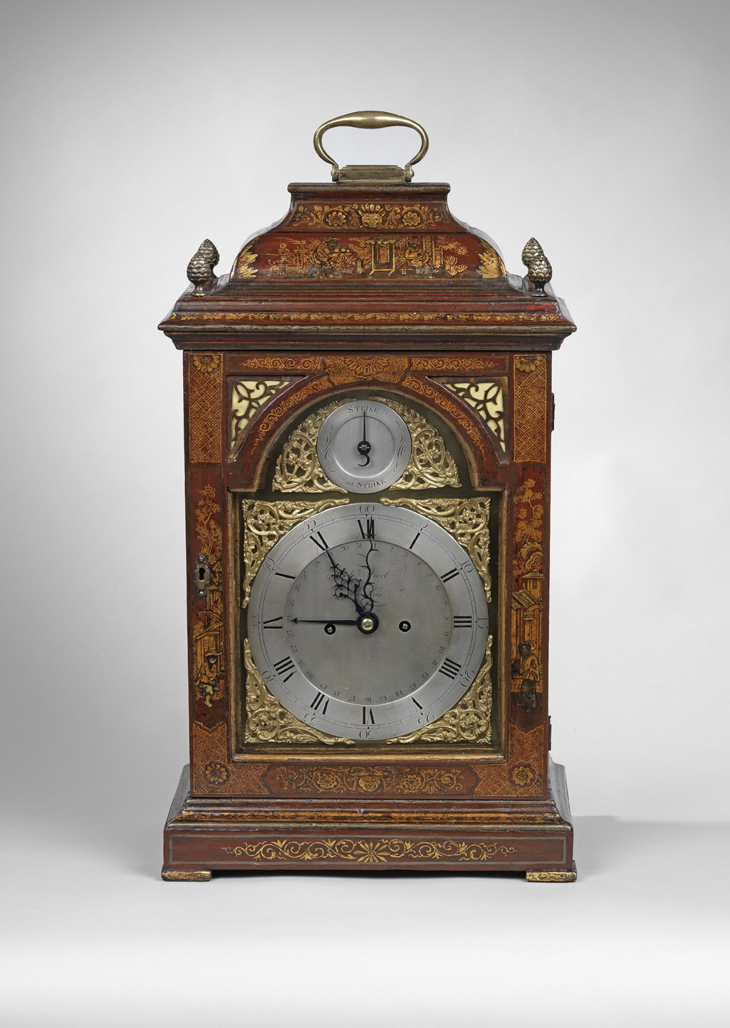 A Georgian Scarlet Japanned Eight Day Clock by Robert Wood  Mackinnon Fine Furniture Collection
